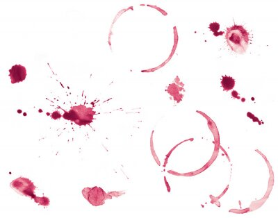 Fototapeta Set of Red Wine Stains and Splatters