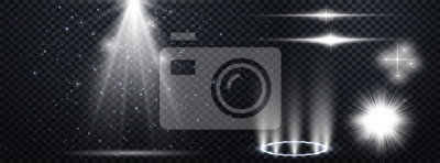 Fototapeta Set of Transparent Lens Flares and Lighting Effects. White spotlights.  Light Effects. Realistic falling snowflakes. Vector illustration