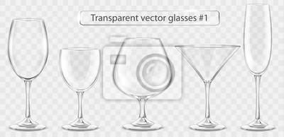 Fototapeta Set of transparent vector glass goblets for wine bar