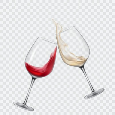Fototapeta Set průhledné sklenice s bílým a červeným vínem