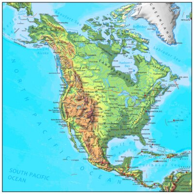 Fototapeta Severní Amerika fyzikální kontinent mapa