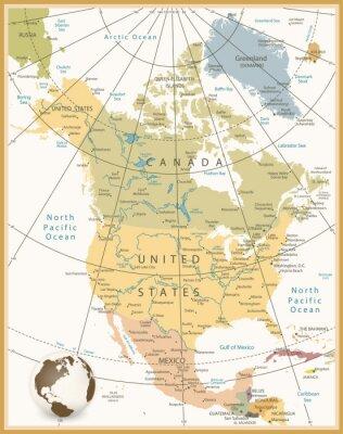Fototapeta Severní Amerika podrobná mapa retro barvách