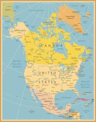 Fototapeta Severní Amerika podrobná mapa vintage barvy