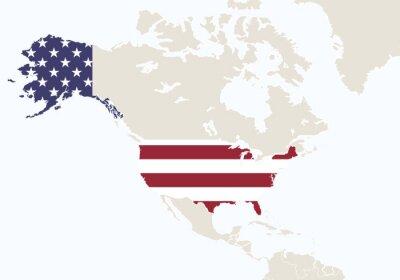 Fototapeta Severní Amerika se zvýrazněnou USA mapy.