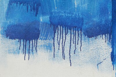 Fototapeta Sfondo di muro pitturato murales con pennellate Datum A Rullo e colature blu