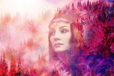 Fototapeta Shaman woman in winter landscape, artist collage.