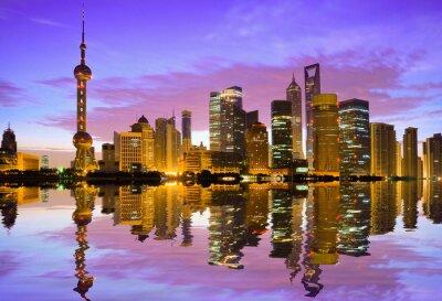 Fototapeta Shanghai panorama za úsvitu