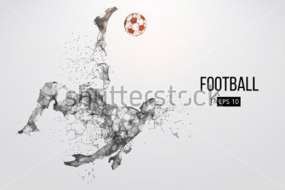 Fototapeta Silhouette of a football player. Dots, lines, triangles, text, color effects and background on a separate layers, color can be changed in one click. Vector illustration