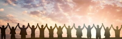 Fototapeta Silhouette of group business team. Teamwork concept.