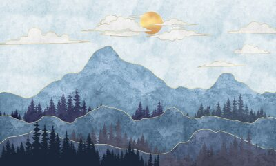 Fototapeta Silhouettes of mountains with trees. Abstraction of textured plaster with gold elements. Mural, mural, Wallpapers for interior printing