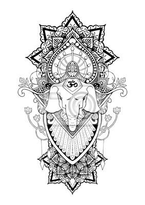 Silueta Ganesha Mandala Orientalni Kresba Ilustrace Tetovani