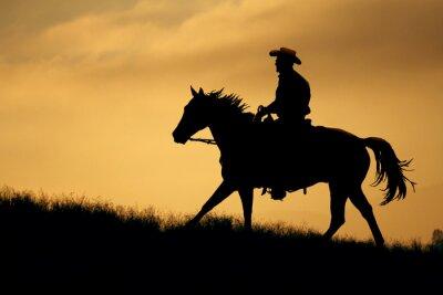 Fototapeta Silueta kovboje a kůň chodí do louku s oranžové a žluté pozadí oblohy.