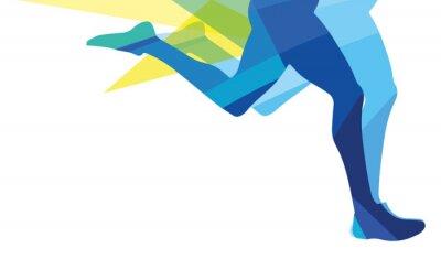 Fototapeta Silueta muže běžící nohy průhledné překryvné barvy