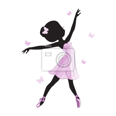e87a21b14f0 Fototapeta Silueta roztomilé balerína v růžových šatech izolovaných na bílém  pozadí. Vektorový design. Tiskněte