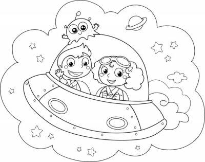 Fototapeta Simpatica Navetta spaziale pilotata da Bambini
