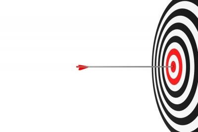Fototapeta Single arrow hitting center of goal target over white background, success, goal achievement or performance concept