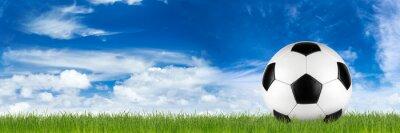 Fototapeta Široká retro fotbalový míč na trávě banner v přední části modré zatažené obloze