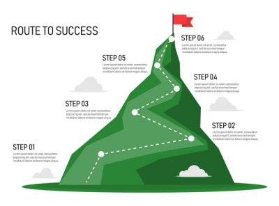 Fototapeta Six step mountain infographic. Path to top of mountain. Business strategy to success. climbing route to goal. business and achievement concept. vector illustration in flat style modern design.