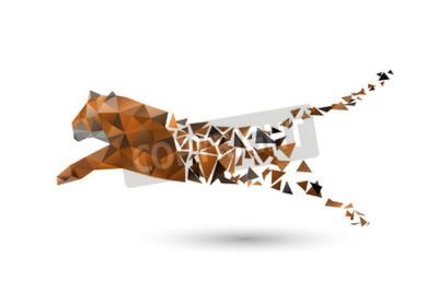 Fototapeta skákající tygr z polygonů