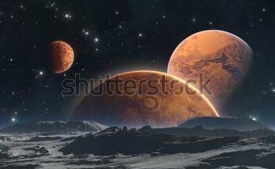 Fototapeta Skalnaté planety a měsíc, pozadí vesmíru. 3d ilustrace