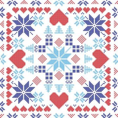Fototapeta Skandinávském stylu severské zimní červená spínač, pletení bezproblémové vzor ve tvaru čtverce, včetně sněhové vločky, vánočními dárky, vánočními stromy, srdce a dekorativních prvků v červené a modré