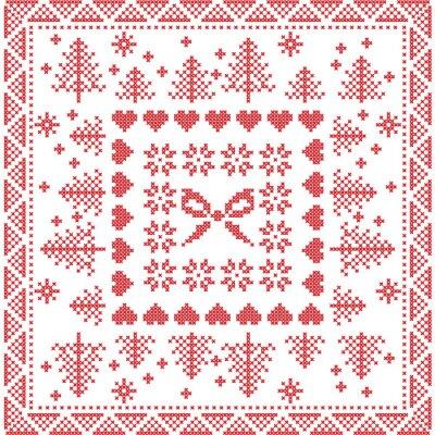 Fototapeta Skandinávském stylu severské zimní steh, pletení bezešvé vzor na náměstí, tvar dlaždice včetně sněhových vloček, luk, vánoční strom, vánočními sněhové vločky, srdíčka, dekorační prvky v červené