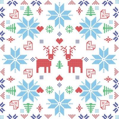 Fototapeta Skandinávském stylu severské zimní Stich, pletení bezproblémové vzor ve tvaru čtverce, včetně sněhové vločky, stromy, Vánoce sněhové vločky, srdce, soby a dekorativních prvků v červené a modré dlaždic