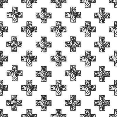 Fototapeta Skandinávský minimalistickém stylu cross vzor prolamované čisté textury. Černá a bílá tkanina geometrie tištěné.