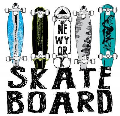 Fototapeta Skateboard typografie, tričko grafika