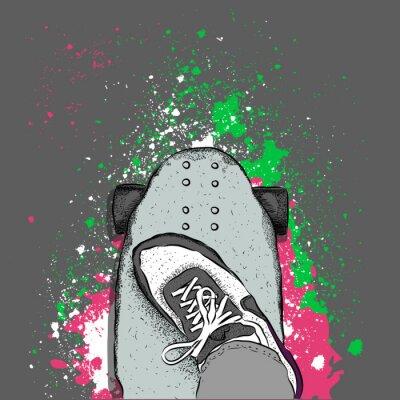 Fototapeta Skateboardista na skateboardu. Grunge pozadí s blots. vektorové ilustrace