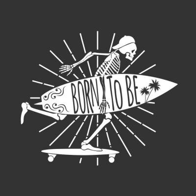 Fototapeta Skeleton Surfer. Logo. Zrozen k. Vektorové ilustrace