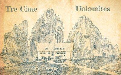 Fototapeta Sketch of Dreizinnen hut in Tre Cime, Dolomites