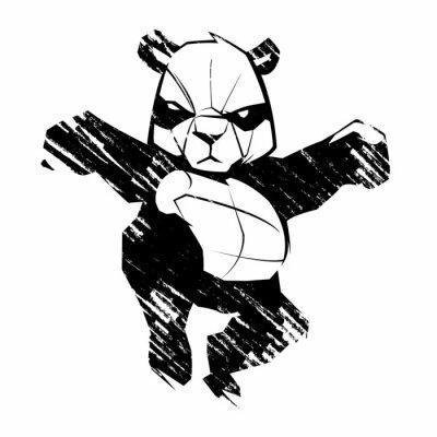 Fototapeta Sketch panda martial arts