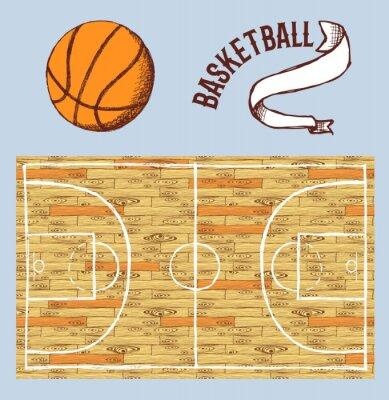 Fototapeta Skica basketbal set s kurtem a míčem
