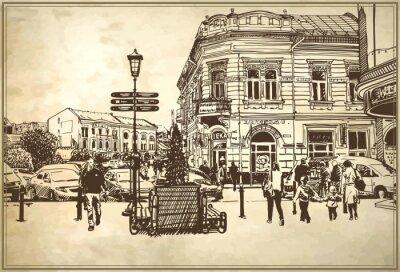 Fototapeta skica vektorové ilustrace Užhorod panoráma