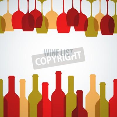 Fototapeta sklenice na víno láhev výtvarné pozadí