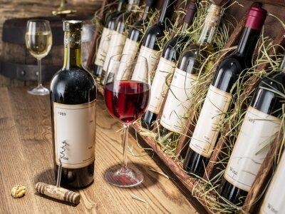 Fototapeta Sklenka vína a láhev vína.