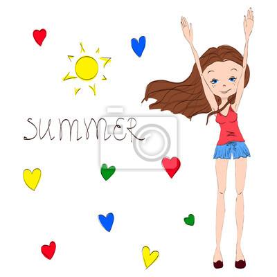 Sladké a rozkošný ručně kreslenými summer girl fototapeta ... 5829f00140