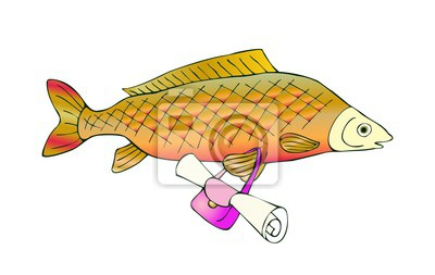 Sladkovodni Ryby Kapr S Taskou Vektorove Roztomile Kreslene
