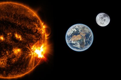 Fototapeta Slunce, Země a Měsíc - Prvky tohoto obrázku zařízený NASA