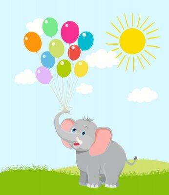 Fototapeta slůně s balónky, mraky a slunce. vektor karikatura. náhoda
