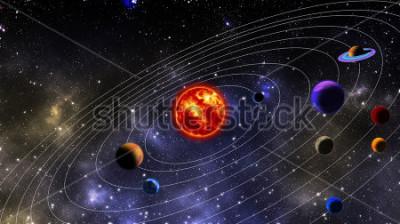 Fototapeta Sluneční Soustava. Fotografování je připraveno pomocí 3D vykreslování a Gaussova rozdělení šumu v softwaru pro zpracování obrazu a kódování.
