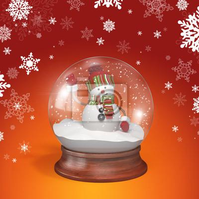 Fototapeta sněhulák uvnitř skleněné koule