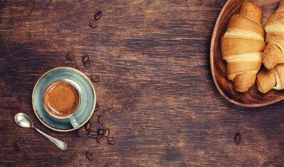 Fototapeta Snídaně s kávou a croissanty