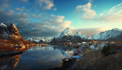 Fototapeta Sníh v Reine Village, Lofoten ostrovy, Norsko