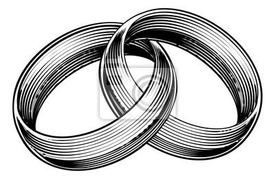 Snubni Prsteny Prsteny Ryte Leptani Woodcut Style Fototapeta