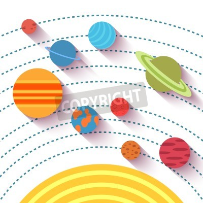 Fototapeta Solární systém a prostorové objekty. Vector set v plochém stylu.