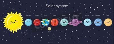 Fototapeta Solární systém s líbezným úsměvem planet, Slunce a Měsíce. vektorové ilustrace