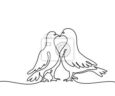 Souvisla Kresba Jednoho Radku Dve Holubice Logo Cerne A Bile