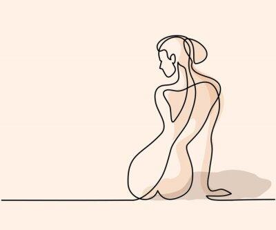 Fototapeta Souvislý výkres čáry. Žena sedící zpět. Měkké barevné vektorové ilustrace